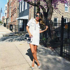 White Shirt Dress With Tweed Trim (DR010)